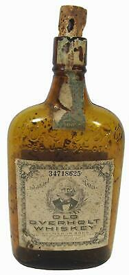 Old Overholt Whisky Empty Bottle 1 Pint 1921 Prohibition Era Medicinal Use Only