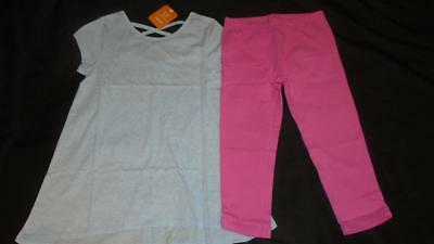 NEW Girls Size 7-8 Gymboree Outfit Blue Tunic Shirt & Pink Capri Leggings NWT