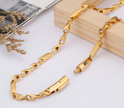 Women Men Gold 316L Stainless Steel Rhombus Chain Necklace 5mm Width 23.6""