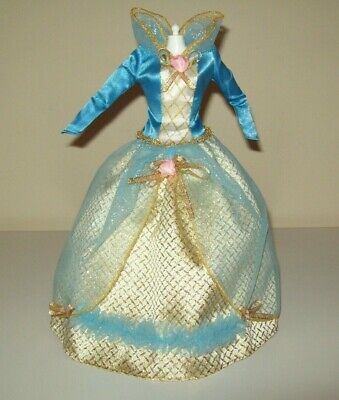 Barbie Doll Clothes Princess Sleeping Beauty Dress Gown Blue Gold 2 Piece D226