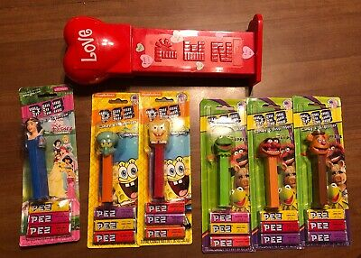 Lot 6 Disney Muppets Snow White PEZ Dispensers Nickelodeon Spongebob Squidward