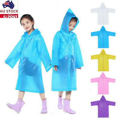 AU Unisex Kids Reusable Raincoats Raindays Students Going School Ponchos 6-12Y