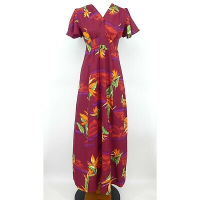 9a656c9fc1795 Vintage Penneys Hawaii Hawaiian Red Floral Tropical Long Maxi Dress Womens  Size