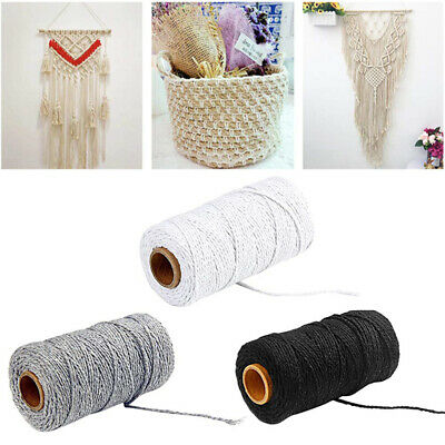2x 100m 100% Natural Cotton String Twisted Cord Beige Craft Macrame Artisan 1mm