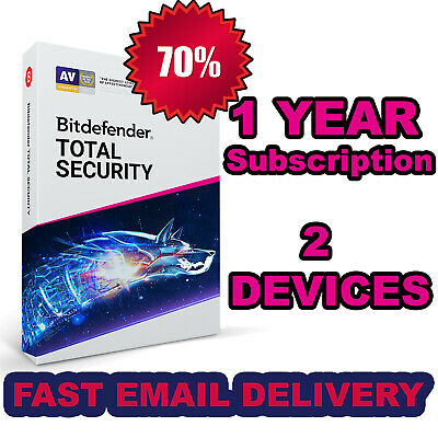 Bitdefender Total Security 2019 | 2 Devices - 1 Year Activation | Download