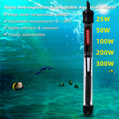 Submersible Aquarium Eco Heater 25W 50W 100W  200W 300W Fish Tank Thermostat Uk