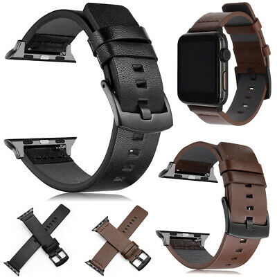 US For Apple Watch Series 4 3 2 1 38/42mm Genuine Leather Replacement Strap Band