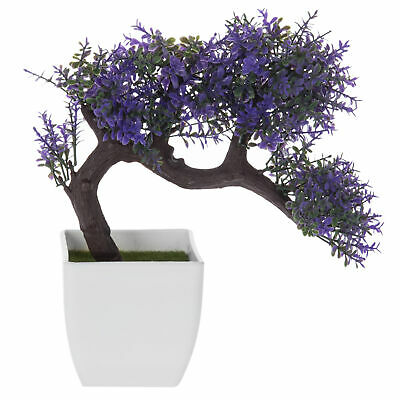 MyGift Purple Blossom Artificial Bonsai Tree, Faux Potted Plant w/White Planter