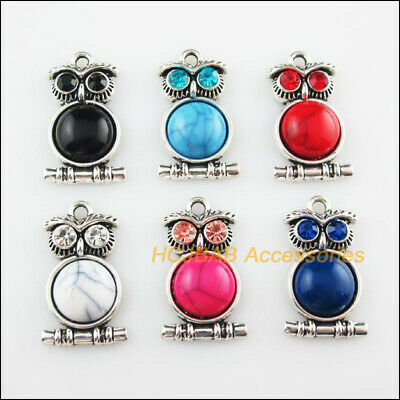 6Pcs Tibetan Silver Tone Animal Owl Mixed Turquoise Charms Pendant 16.5x28mm