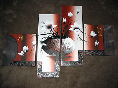 WIECO ART 4-Piece Elegant Flowers Stretched and Framed Hand-Painted
