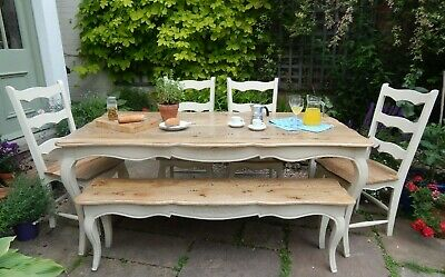 French Style Country Farmhouse Kitchen Dining Set Table Bench Chairs Painted F&B