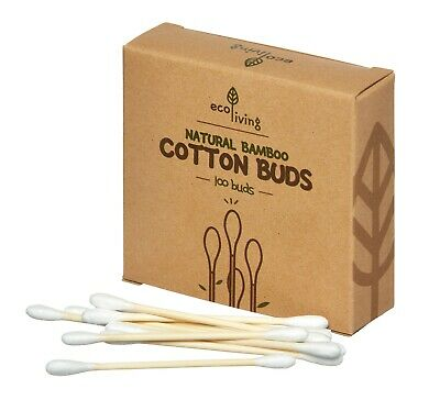 Plastic-free organic bamboo cotton buds,pack of 100 - NEW