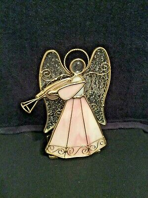 """Stained Glass Angel Votive Tea Light Candle Holder 6"""" tall Pink Clear Gold Metal"""