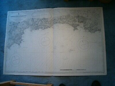 Antique Admiralty Chart 1267 ENGLAND - APPROACHES TO PLYMOUTH 1911 edn