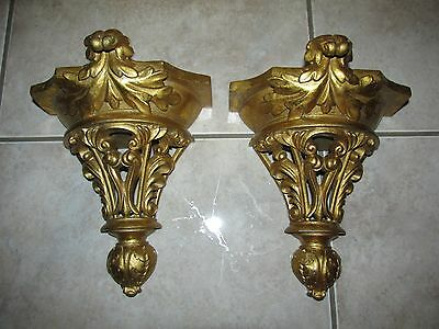 Vintage PAIR Ornate Wall Hangers~stockings,portraits,tapestry~HOLLYWOOD REGENCY
