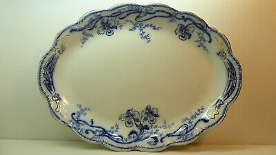 Johnson Bros Pottery China Flo Blue Oval Plate  Del Monte Floral Pattern Antique