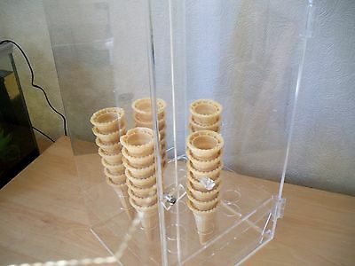Acrylic Perspex Ice Cream Cone Holder Hygiene Cabinet Counter Display Rack Stand