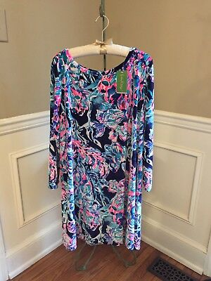 1c20a1260882 NWT LILLY PULITZER Olive Swing Dress Velour Beckon Blue Sparkling ...