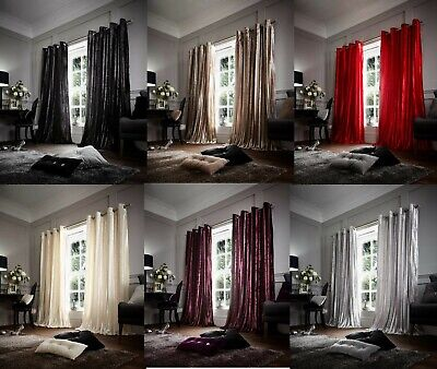 Luxury Stripe Shiny Curtain Faux Fur Fully Line Ring Top Eyelet Pair of Curtains