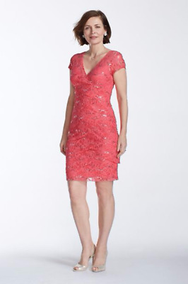 NEW David's Bridal Coral Pink Cocktail Special Event Bridesmaid Dress 12/14