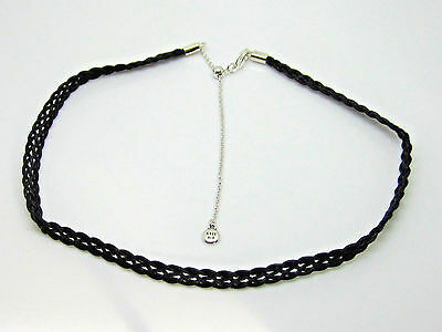 0c3170661 AUTHENTIC PANDORA SILVER Black Woven Fabric Choker Necklace 12.5 ...