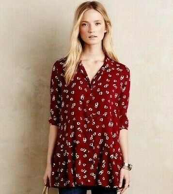 230a5baf72b5 11-1 TYLHO Top Anthropologie Medium Blouse Tunic Shirt Red White Lady Bug