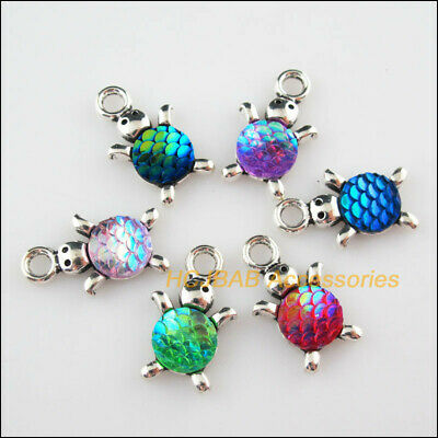 6Pcs Tibetan Silver Scales Animal Tortoise Mixed Resin Charms Pendants 14x23mm