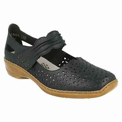 LADIES RIEKER 43758 MULTI LEATHER LOW HEEL RIPTAPE MARY JANE CASUAL SUMMER SHOES