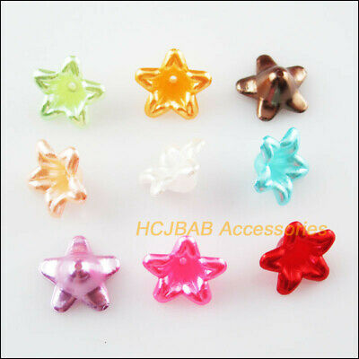 80Pcs Mixed Morning Glory Flower Acrylic Plastic Spacer Beads Charms 13mm