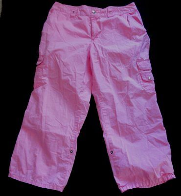 ea417e6f Caribbean Joe Poplin Pink Cargo Adjustable length crop capri Pants sz 16