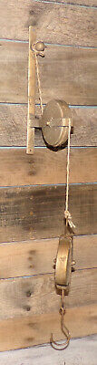 Vintage Style Cast Iron Industrial Pulley w Hook Rope FARMHOUSE COUNTRY DECOR