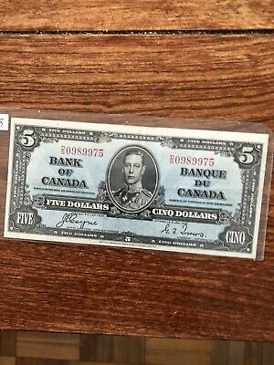 BANK OF CANADA 1937 COYNE-TOWERS $5 NOTE circulated