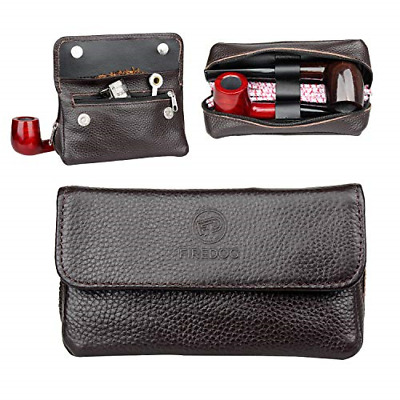 Genuine Leather Smoking Tobacco Pipe Pouch Case Bag for 2 Pipes Tamper Filter To