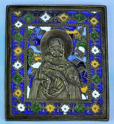 Russian Brass Bronze Icon with Enamel. VLADIMIR VIRGIN,  (BI#MK/181217)