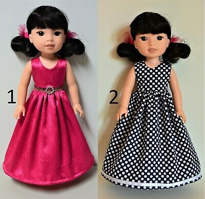 "Handmade Doll Clothes Dress Gown Colors for 14.5"" AG Wellie Wishers and H4H Doll"