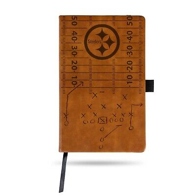Pittsburgh Steelers Laser Engraved Brown Notepad With Elastic Band Journal Logo