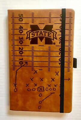 Mississippi State Bulldogs Laser Engraved Brown Notepad With Elastic Band