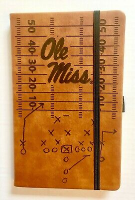 Ole Miss Rebels Laser Engraved Brown Notepad With Elastic Band University