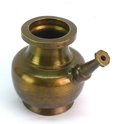 Antique Old Brass Pot With Spout Indian Holy Water Vessel collectible.G56-140 AU