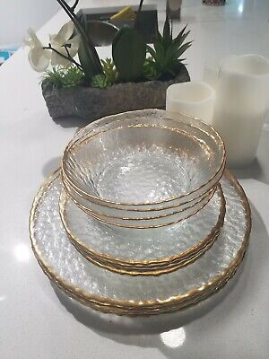 Arcoroc Clear Knobby Pebble Glass Gold Trim 4 Dinner 4 Salad Plates 4 bowls 12pc