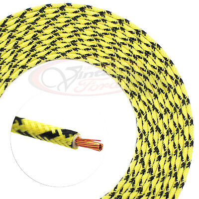 hot rod wire cloth covered automotive yellow black x 8ft old school resto  wiring