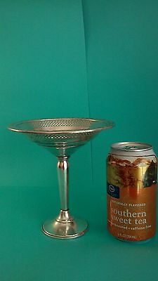 "Vintage Art Deco Sterling Silver weighted compote footed candy dish 6"" tall,"