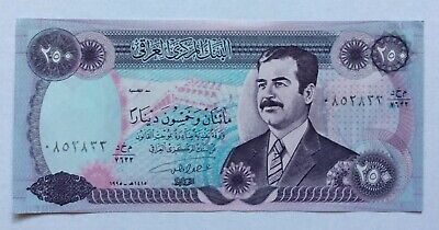 Genuine Saddam Hussein 1994 Iraq War 250 Dinar Unc