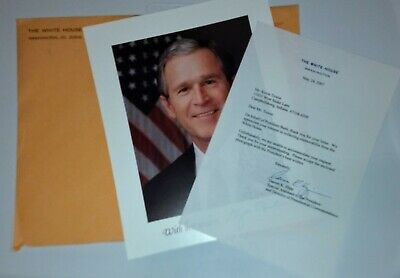 George W Bush photo, White House Envelope, and letter.