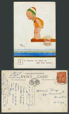 MABEL LUCIE ATTWELL 1932 Old Postcard Diving - I'm Hoping To Drop in Soon! 1956