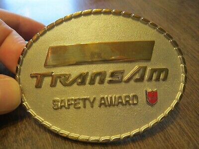 Vintage TransAm Metal Brass Belt Buckle Vintage Safety Award 1970's 1 Year