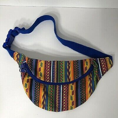 """Vintage 80's Print Fanny Pack Youth Bright Colors Unisex Adjustable Waist 29"""""""