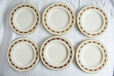 6 Piece Vintage LENOX Pinehurst Maroon Bread and Butter Plate6 1/4 in Gold Rim
