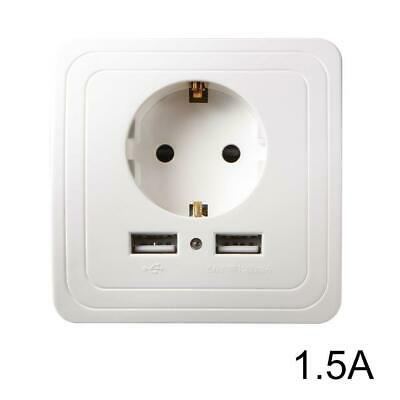 Wall Outlet Dual USB Port Power Charger Double Switch EU Plug Socket