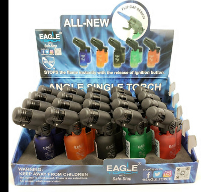 LOT OF 3/20Pc Boxes Of Eagle 45 Degree Angle Jet Flame Torch Lighters - 60Pc Set